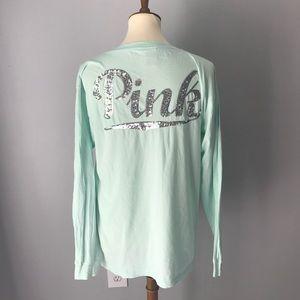 NWOT Victoria's Secret pink bling campus LS tee